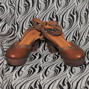 Micro Suede Platform Chunky Heeled Sandals Size 9